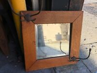 "c1900 quartersawn oak Larkin #1 mirror frame w original hardware hooks 15.5"" sq"