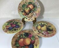"Lot 4 Salad Lunch Plates MONACO Fruit Harry&David Made ITALY 8.5"" Stoneware"