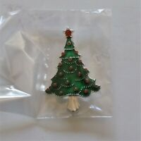 Green Christmas Tree With Red Star & Decorations Brooch Pin Holiday Jewelry NEW