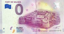BILLET 0 ZERO EURO SOUVENIR FORT DE SALSES 2018-1 NUMERO 1010