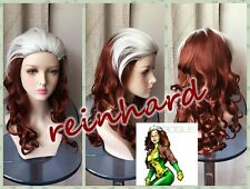 Newest X-Men - Rogue Brown-Red /White mixed long wavy cosplay Wig Free Shipping