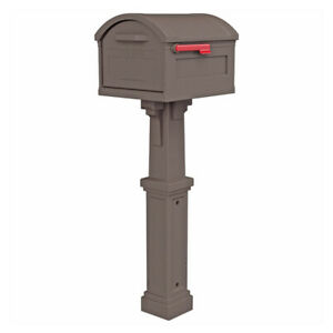 Gibraltar Mailboxes GHC40M01 Grand Haven Large Plastic Mocha Post Mount Mailbox
