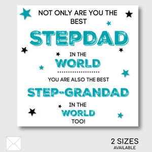 StepDad Grandad Happy Birthday Father's Day Card Glittered Stars Quote OPTIONS