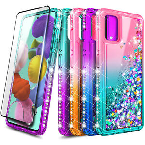 For Samsung Galaxy A51 / A51 5G Case Liquid Glitter Phone Cover + Tempered Glass