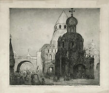 MOSCOW KITAI-GOROD VLADIMIRSKY GATE ORIGINAL ca 1930s ETCHING BY MARIE RADAMSKY