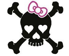 Girl Skull heart Bow Car Laptop Decal Vinyl Sticker