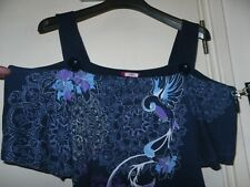 Women's PLUS SIZE 24 top blouse JOE BROWNS purple blue stretch USED Bird