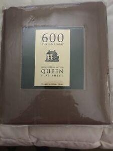 Target Brand 2006 Queen Flat Sheet 600 TC Egyptian Cotton Brown Striped NIP