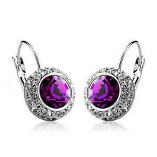 Women Multi-color Crystal Ear Stud Rhinestone Hoop Earrings Clip