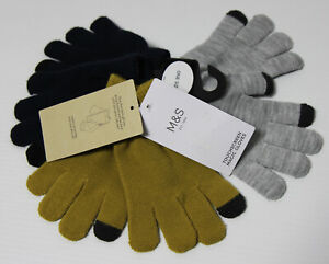 M&S 3 Pairs Kids Knitted Plain Touch Screen Gloves ONE SIZE Super Stretchy