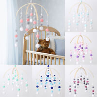 Fluffy Pom Pom Ball Mobiles Baby Hanging Crib Pram Nursery Decor Wood Wind-bell