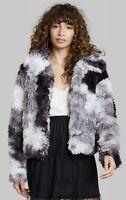 Wild Fable S Faux Fur Jacket Black White Tie Dye Coat Women Small