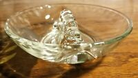 Vtg glass ashtray 1940s patent invention of cigarette rest bubble relief elegant