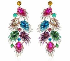 HUGE FEATHER AUSTRIAN CRYSTAL RHINESTONE CHANDELIER DANGLE EARRINGS MULTI E2000M