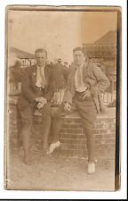 Unusual Photo Card of a Pair of Young Men in Jodhpurs RP PPC Unposted, c 1920's