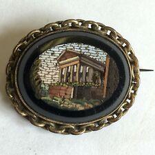 19th secolo antico micro mosaico ROMA architettonico Spilla Grand Tour 33mm A/F
