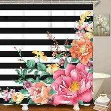 Black White Stripes Watercolor Floral French Country Boho Fabric Shower Curtain