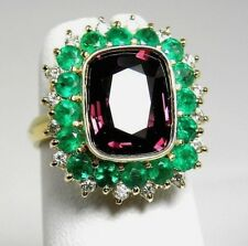 7.55ct Fine Spinel, Emerald & Diamond Cocktail Ring 18K Gold /1-of-A-kind