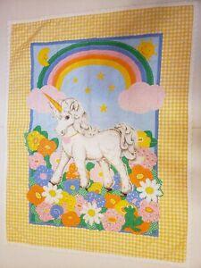Vintage Baby Girl Unicorn Blanket Quilt Rainbow gingham flowers yellow 35x45