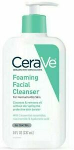 CERAVE Foaming Facial Cleanser For Normal To Oily Skin, 8 oz Pump Bottle