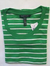 NWT Women's Polo Ralph Lauren Classic LS Round Neck T-Shirt Green White- Small