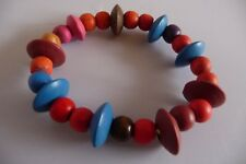 WOODEN ELASTICATED COLOURED BEAD BRACELET URBAN ETHNIC SURFER TRIBAL BRAND NEW