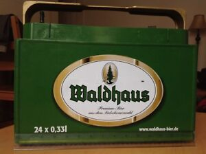Waldhaus Premium Bier Schwarzwald Retractable Handle 12 Bottle Stackable Carrier