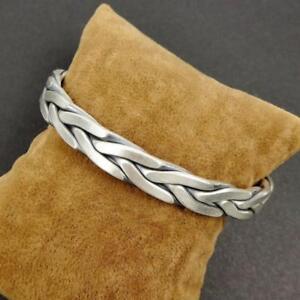 45G 925 Sterling Silver Braided Twist Rope Bangle Cuff Bracelet Men Adjustable