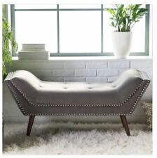 Bed Bench End of Foot Upholstered Tufted Button Nailhead Bedroom Entryway Gray