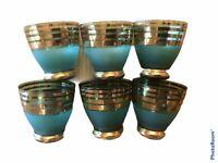 Vtg MCM Gold Blue Striped Mini Blue Green Aperitif Barware Shot Glass Glasses