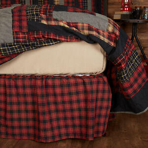 VHC Brands Rustic Twin Bed Skirt Red Gathered Cumberland Cotton Bedroom Decor