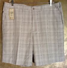 Haggar Cool 18 Classic-Fit Flat-Front  Plaid Shorts..Size 42