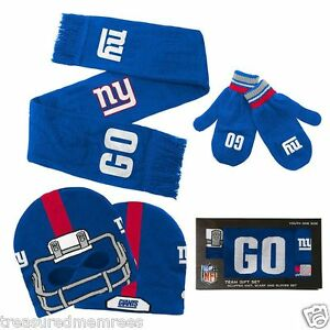 Licensed NFL Youth Hat, Scarf & Mittens Set ~ New York Giants ~ New In Box