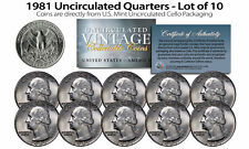 1981 QUARTERS Uncirculated U.S. Coins Direct from US Mint Cello Packs (QTY 10)
