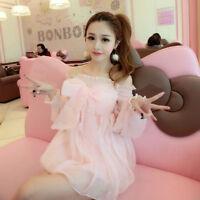 Sweet Lolita Dress Japanese Womens Cute Bowknot Princess Boat Neck Pink Chiffon