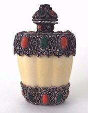 Opio medicinal en polvo de rapé O Botella De Plata Piedra Dura Antiguo nepalés c1880