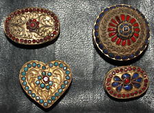 Quatre  petites boites Kabyle berbere oriental turquoise corail pâte de verre