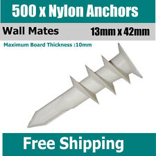 500 x Nylon Anchors Screws 13mm x 42mm Wall Mates Wallmates For Plaster Board