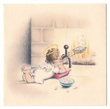 Vintage Greeting Card Christmas Angel Fireplace Popping Popcorn Norcross L31