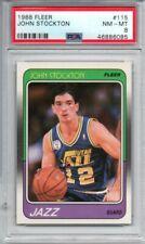 John Stockton 1988-89 Fleer Rookie RC #115 PSA 8 NM-MT