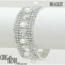 CLEAR CRYSTAL, WHITE PEARL WEDDING FORMAL BRACELET CHIC & TRENDY FASHION JEWELRY