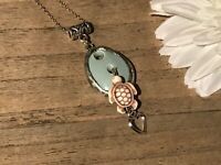 Recycled Broken Porcelain Jewelry, Green Pendant w/Turtle Charm