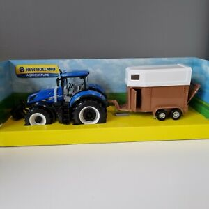 New Holland Tractor T7.315 & Horse Trailer 1:32 Scale Diecast Farm Model Bburago