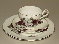 LOVELY REGENCY ENGLAND BONE CHINA TEA SET TRIO ~ RED & WHITE FLOWERS GOLD RIMS