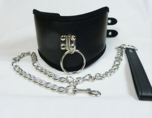 Black Faux LEATHER shaped POSTURE COLLAR ,Lead & D ring CO-77 FREE UK DELIVERY