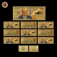 WR 10X US $1 Million Dollar Bills Donald Trump Gold Novelty Banknote +COA