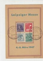 Germany 1947 Leipzig Messe Slogan Cancel Four Stamps Card ref R 19293