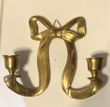 Brass Ribbon Bow Candle Holder Wall Sconce