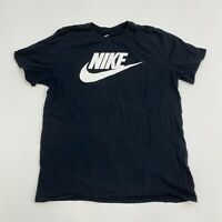 Nike T-Shirt Mens Large Black Athletic Cut Swoosh Short Sleeve Casual