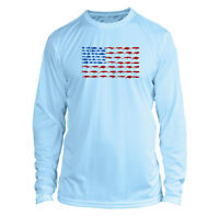 Long Sleeve Microfiber UPF Fishing Lure Flag Fishing Shirt - Arctic Blue